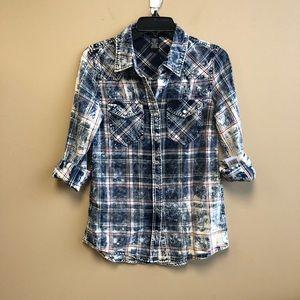 New Justify acid wash snap button denim shirt S